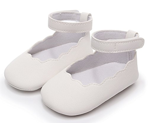 Bebila Baby Girls Sandals Mary Jane Ankle Strap Soft Soled Summer Baby Moccasins Toddler Crib Shoes (11cm(0-6months), White) -