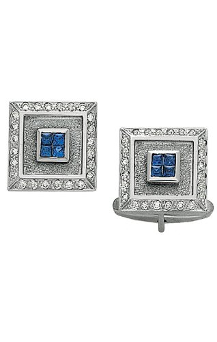 14K White Gold Square Diamond Cufflinks With 4 Princess Cut Sapphires In Center-86295 - Sapphire White Gold Cufflinks