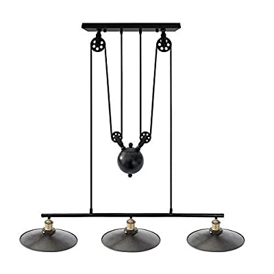"""Traditional Industrial Style 3 Light Pulley Pendant Lighting Fixture 12"""" Lamp Shades Vintage Edison Adjustable Hanging Ceiling Light for Kitchen Island, Pool Table, Farmhouse"""
