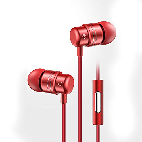 ZUEN 3.5Mm in-Ear Headphones Women's Karaoke Headset, HiFi Sound Quality with Microphone Subwoofer Headphones for Mobile Phones / MP3 / Computer,Red