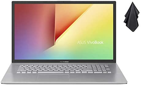 "2021 Newest ASUS VivoBook 17.3"" Thin and Light Laptop, FHD Display, Ryzen 3 3250U Processor, 8GB RAM, 512GB SSD, HD Webcam, HDMI, AMD Radeon Vega 3 Graphics, Transparent Silver, Win 10 + Oydisen Cloth"