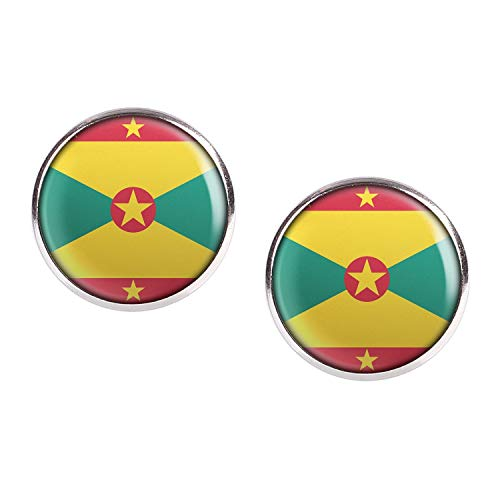Stud Earring Pair with Cabochon Picture Grenada St. George's flag silver 0.63 inch