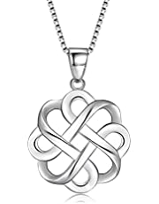 Zoint 925 Sterling Silver Good Luck Polished Celtic Knot Cross Pendant Necklace for Women