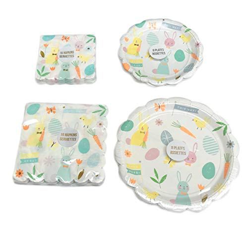 Happy Easter Bunnies Flowers & Eggs Bundle of Springtime Party Paper Dessert & Lunch Plates & Napkins