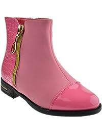 Blake 82F Little Girls Snakeskin Zipper Boots Coral