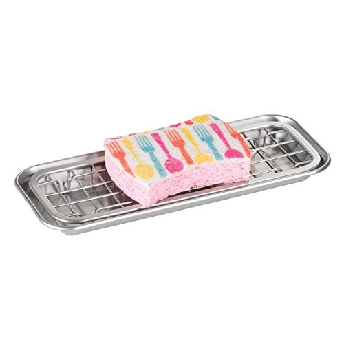 mDesign Metal 2-Piece Sink Tray Caddy for Kitchen Countertops - Removable Grid Insert for Sponges, Scrubbers, Bar Soap, Cleaning Tools - Drainage Grid with Tray - Brushed Stainless Steel