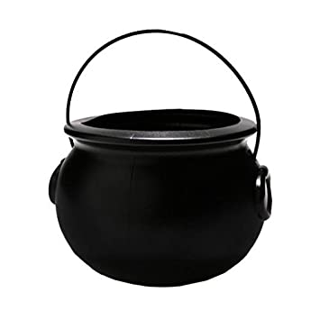 Amazon.com: Halloween Cauldron 6 Inch Black Plastic Party ...