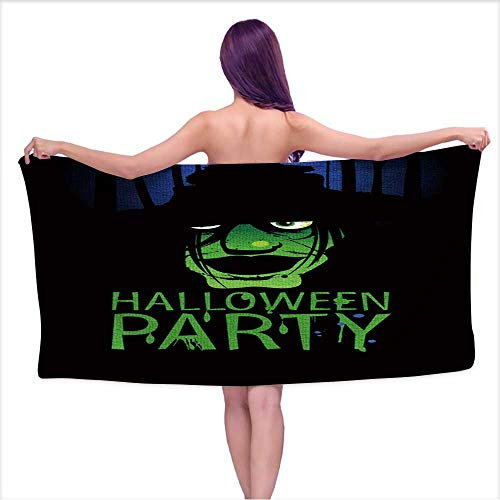 Beach Towel Super Soft & Absorbent , Halloween Party Design Template with Witch and Place for Text,Perfect for The Beach, Bath and Pool W 31.5