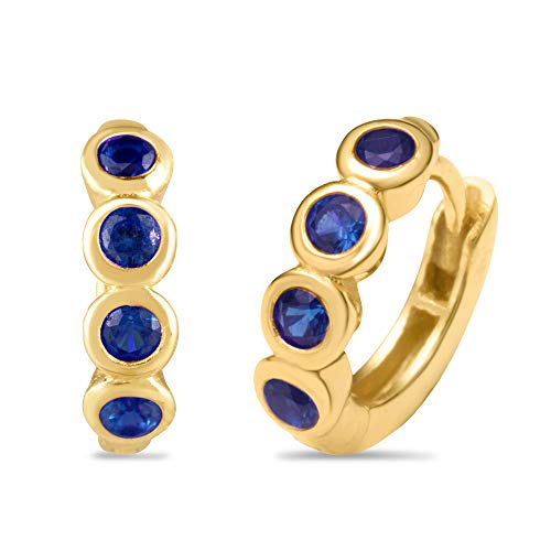 Synthetic Sapphire Earrings - 18K Yellow Gold Plated Sterling Silver and Synthetic Blue Sapphire Huggie Fashion Earrings in Bezel Setting