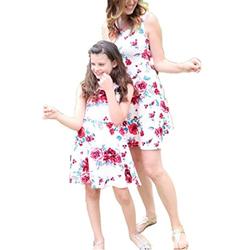 Daughter Set (Sunbona Mommy and Daughter Matching Floral Print Sundress Sleeveless T Shirt Dress Casual Family Clothes Outfits Set (Daughter, 4T(3~4years)))
