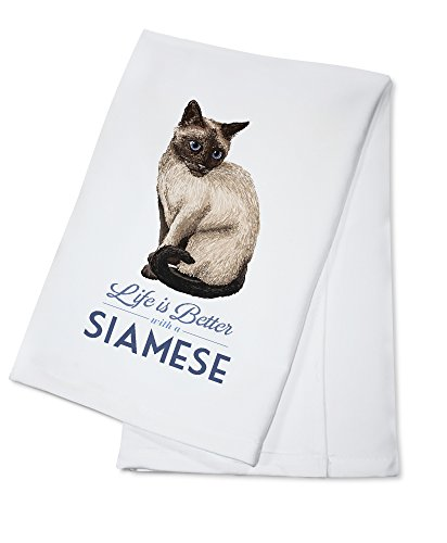 Siamese Cat - Life is Better (100% Cotton Kitchen Towel)