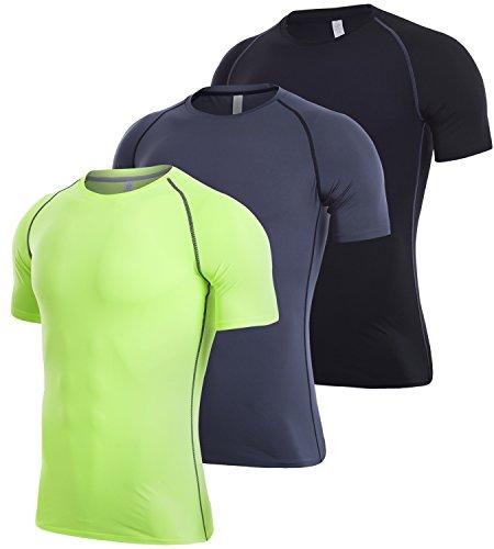 (Lavento Men's Compression Shirts Dri Fit Short-Sleeve Workout T-Shirts (3 Pack-3501 Black/Gray/Yellow Green,Medium))