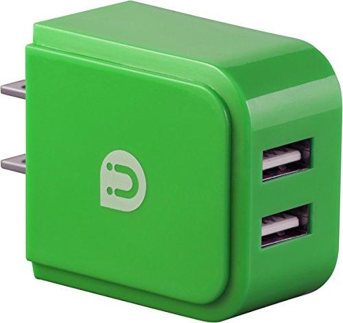 Uber Cargador de pared USB, 2puertos USB, 2,4A, 12W, carga smartphones, verde, 12426