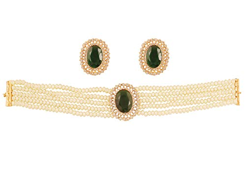 Touchstone New Indian Bollywood Desire Fine Studded Diamond Look White Rhinestone Faux Emerald Pearls Designer Jewelry Choker Necklace in Gold Tone for Women.