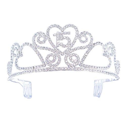 FF Sweet 15 Rhinestone Birthday Tiara Crown with Combs