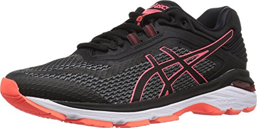 ASICS Women's GT-2000 6 Running Shoe, Black/Flash Coral, 8.5 M US (Asics Running Shoes Gel Flash)