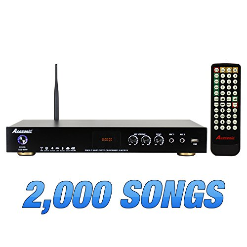 Acesonic KOD-6000 Hard Drive Multimedia Karaoke 4K UHD h.265 Player with 2,000 Fully Licensed English Songs from Karaoke Cloud ()