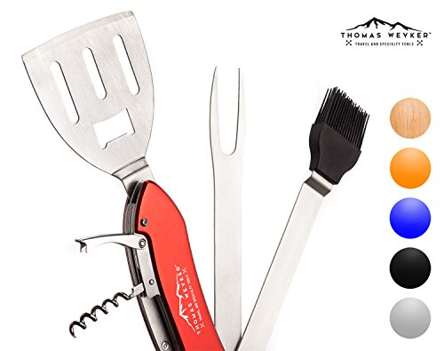 5-in-1 BBQ Multi Tool by Thomas Weyker - Portable Grill Tool Set with Stainless Steel Spatula, Fork, Grill Brush, and more - Grilling Multitool for Backyard Grilling, Barbecue, and Camping (Red)
