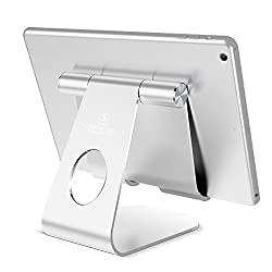 Tablet Stand Adjustable, Lamicall iPad Stand : Desktop Holder Dock for new iPad 2017 Pro 10.5, 9.7, Air mini 2 3 4, Kindle, Nexus, Accessories, E-reader, other Tablets (4-13 inch) - Silver