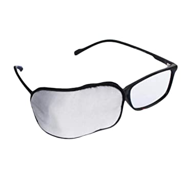 fd25a2c2ee5f Amazon.com : Adult Silk Glasses Eye Mask Amblyopia Strabismus Lazy Eye  Patches-Gray : Beauty