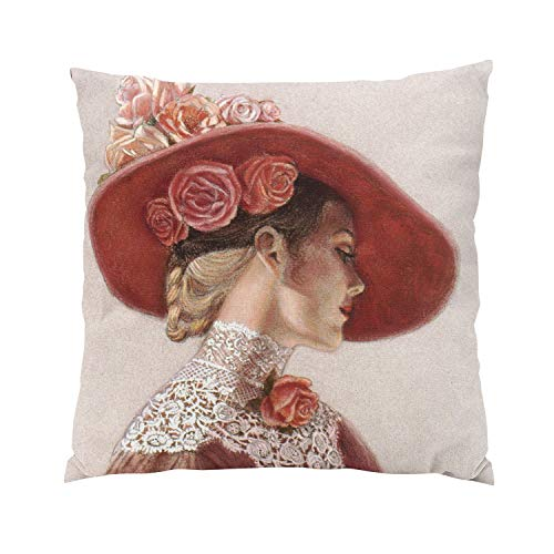 (Suike Elegant Victorian Lady Floral Roses Hat Plush Hidden Zipper Home Sofa Decorative Throw Pillow Cover Cushion Case Square 20x20 Inch Two Sides Design Printed Pillowcase)