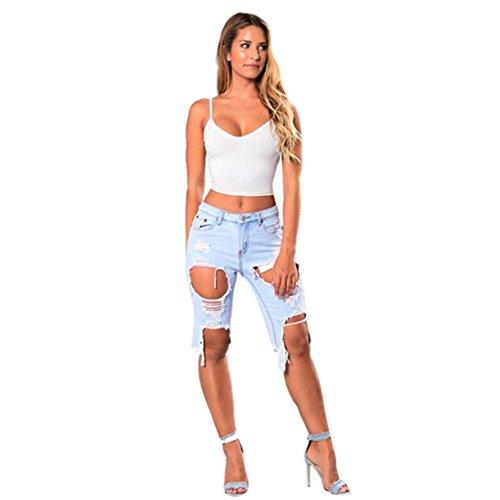 Mujer Elasticos Originals Moda Personalidad Skinny Cortos Rotos Pantalones LuckyGirls Vaqueros Claro XS~2XL Sexy Pantalón Tallas Casual Legging Azul Grandes Jeans PARwx5q