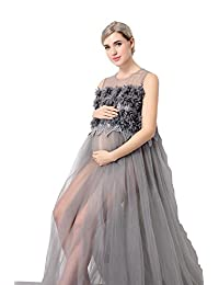 Women's See Through Mesh Sleeveless Gown Maxi Maternity Dress for Photo Shoot Gray
