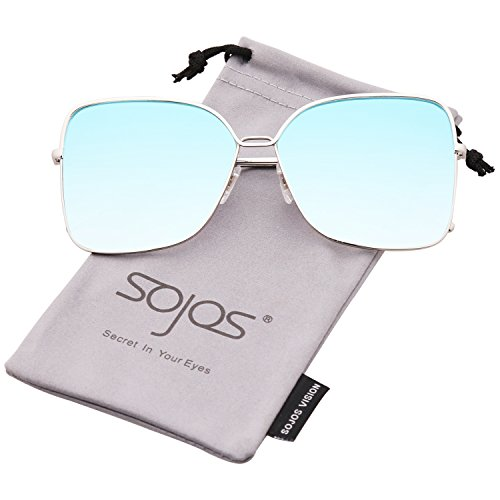 SOJOS Fashion Oversized Women Sunglasses Square Frame Flat Mirrored Lens SJ1082 with Silver Frame/Blue Mirrored Lens by SOJOS