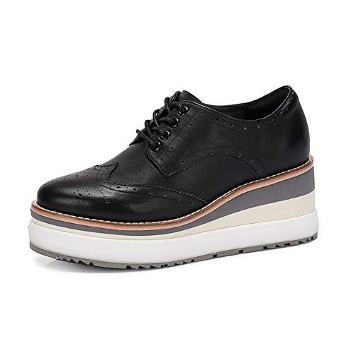 Zapatos Pequeños Zapatos Femeninos Negro De Zapatos Mujer De Grueso Plataforma Zapatos Tallados Blancos Otoño Británicos Zapatos Talón Brogues X0qTA7