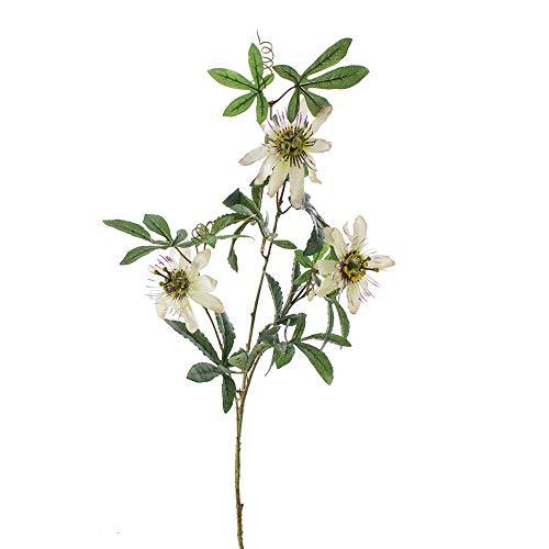 MARJON FlowersArtificial Passion Flower Shari with 3 Blooms, White-Purple, Silk Flower/Single stem Artificial Flower