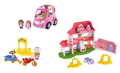 Fisher Price Little People Happy Sounds Home with Bonus Little People Trike and Wagon Playset and All Around Car Gift Set Bundle with Mom Dad Baby and (Fisher Price Little People Dollhouse)