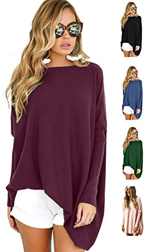 - LETSRUNWILD Women's Round Neck Oversized Sweaters Long Batwing Sleeve T-Shirt Loose Tunic Tops Purple-Small