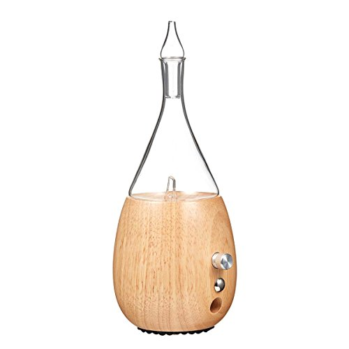 Raindrop 2.0 Nebulizing Diffuser for Essential Oil/Aromatherapy by Organic Aromas Light-Colored Wood Base and Glass Reservoir with Touch Sensor Light Switch