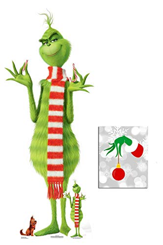 The Grinch Lifesize with 2 Mini Cardboard Cutouts Fan Pack, 193cm x 78cm Includes 8x10 Star Photo ()