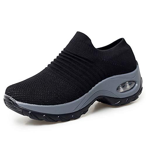 HKR Womens Walking Tennis Shoes Slip On Light Weight Mesh Platform Air Sneakers Black 7(ZJW1839heise38)