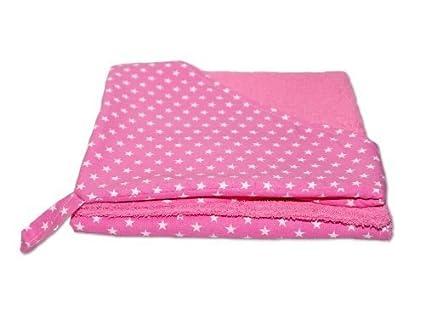 Rizo – Toalla con capucha Albornoz Toalla estrellas rosa con nombre bordado Stoff: Sterne Pink