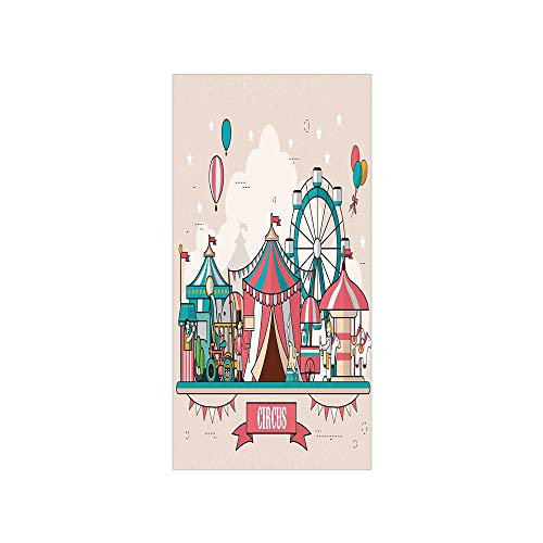 (Decorative Privacy Window Film/Circus Facilities Scenery in Flat Design Style Balloons Children Park Illustration/No-Glue Self Static Cling for Home Bedroom Bathroom Kitchen Office Decor Multicolor)