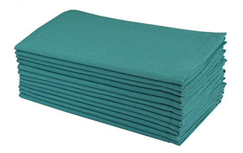 Cotton Craft Napkins, 12 Pack Oversized Dinner Napkins 20x20 Teal, 100% Cotton, Tailored with Mitered corners and a generous hem, Napkins are 38% larger than standard size napkins (Teal Table Cloth Linen)