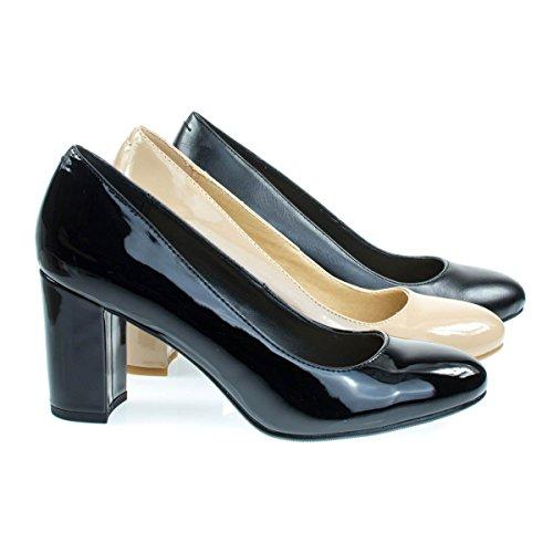 Comfortable Foam Padded Dress Pump w Round Toe Chunky Block Heel Black Patent PyKQ4