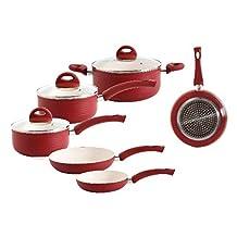 Gibson Home 92684.08 Stanza 8 Piece Aluminum White Ceramic Nonstick Cookware Set, Multi-Size, Red