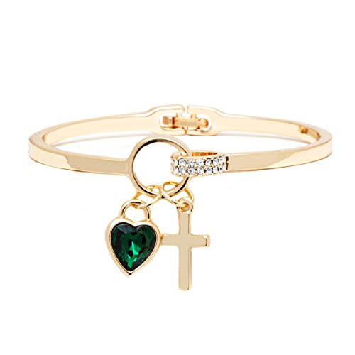 18K Gold Plated Gold and Emerald Crystal Heart and Cross Charm Bangle Made with Swarovski (Emerald 18k Gold Cross Jewelry)