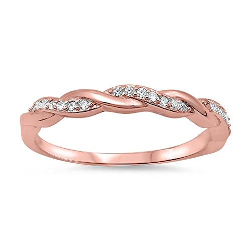 CloseoutWarehouse Clear Cubic Zirconia Half Way Braided Band Ring Rose Gold-Tone Plated Sterling Silver Size 5 by CloseoutWarehouse (Image #2)