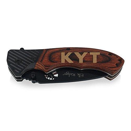 - Groomsmen Gifts - Personalized Knife for Men - Monogram Hunting Knife - Brown Wood Knife Wedding FA