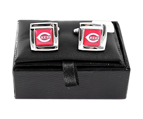 aminco MLB Cincinnati Reds Sports Team Logo Square Cufflinks Gift Box Set
