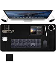 """Extended Mouse Pad, Dual-Sided Desk Pad Office Desk Mat, Abetcabe Ultra Thin Waterproof PU Leather Mouse Pad Desk Blotter Protector Cover, Desk Writing Mat Compatible for Working and Gaming (31.5""""x15.7""""/80cm x 40cm)-Black"""