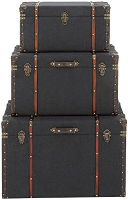 Deco 79 55789 Wood, Linen, Iron and Faux Leather Luggage Trunks, 24 x 28 x 32 , Darkblue Red Brown