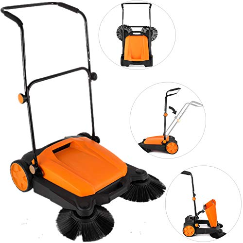 "OrangeA Outdoor Push Sweeper RT-650S 23"" Width Outdoor Manual Sweeper with Dual Side Brooms Industrial Push Sweeper for Cleaning Your Outdoor Areas with Ease"