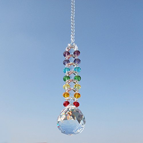 Newmerry Crystal Suncatcher 30mm Crystal Prism Ball Icicle Pendant Chakra Crystal Hanging Light Suncatcher Window Car Rear View,Pack of 2 by Newmerry (Image #3)