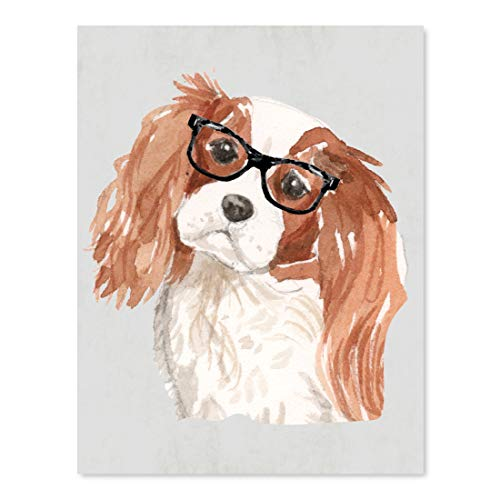 Andaz Press Dog Wall Art Print Poster, 8.5x11-inch, Cavalier King Charles Spaniel in Black Glasses, 1-Pack, Christmas Birthday Gift, Unframed