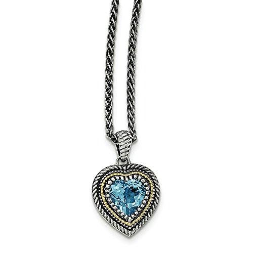 Lt 14 carats Argent fin 925/1000 avec Topaze Bleu Suisse JewelryWeb-Pendentif Coeur